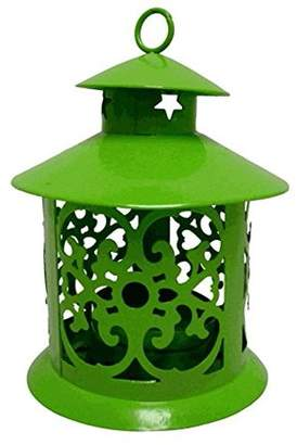 Just Artifacts Decorative Glassless Candle Lantern 5-inch Height Round Design w/ Ring Hook (3pcs, Green)