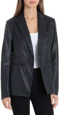 Bagatelle Faux Leather One-Button Blazer