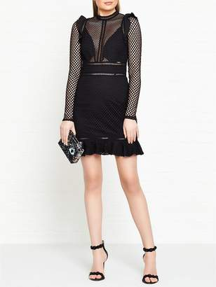 GUESS Jacqueline Long Sleeve Mesh Dress - Black