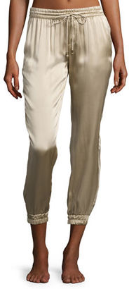 Marie France Van Damme Cropped Satin Lounge Track Pants $550 thestylecure.com