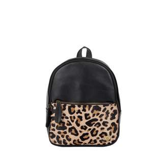 Mahi Leather Mini Backpack In Ebony Black Leather With Leopard Print Pony Hair Front Pocket