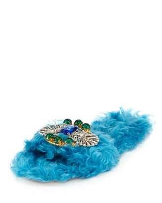 Miu Miu Crystal Faux-Shearling Slide Sandals, Turchese