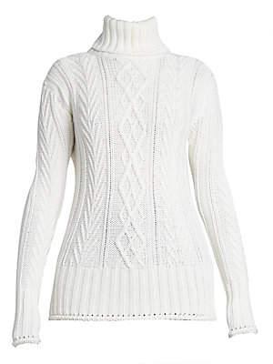 Thom Browne Women's Aran Cable-Knit Wool Turtleneck