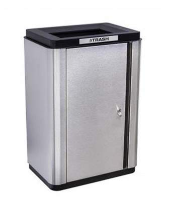 Ex-Cell Kaiser LLC Ex-Cell Kaiser ECH-SL TR SS-BL Echelon Slim Collection Indoor Trash Single Stream Receptacle with Black Anodized Trim - 35 gal
