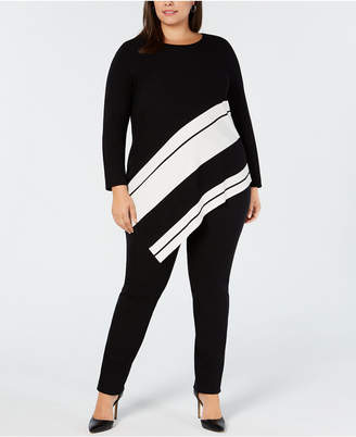 Alfani Plus Size Asymmetrical-Hem Striped Sweater, Created for Macy's