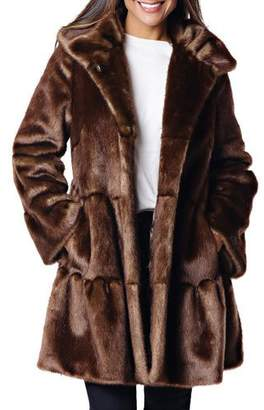 Fabulous Furs Faux Fur Tiered Swing Coat