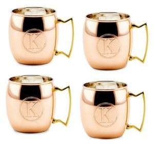 Old Dutch 16 Oz. Solid Copper Moscow Mule Mugs, Monogram K, Set of 4