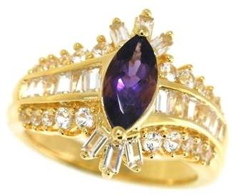 Sterling Silver with 14k Yellow Gold Plated Amethyst and Lab Created White Sapphire Ring