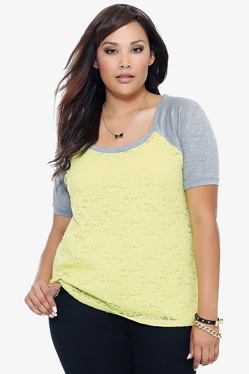 Grey With Limeade Lace Front Raglan Tee