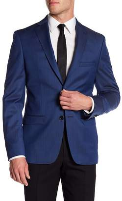 John Varvatos Collection Barlow Blue Sharkskin Two Button Notch Lapel Wool Blazer