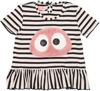 Pink Furry Patch Striped Viscose T-Shirt