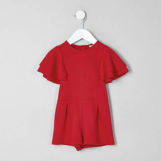 River Island Mini girls Red frill sleeve playsuit