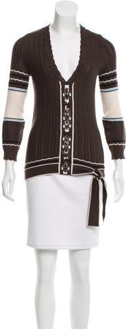 Carolina HerreraCarolina Herrera V-Neck Embellished Sweater
