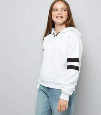 New Look Teens White Stripe Sleeve Hoodie