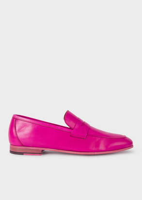 Paul Smith Men's Fuchsia Leather 'Glynn' Penny Loafers