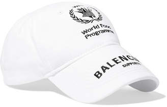 Balenciaga World Food Programme Embroidered Cotton-twill Baseball Cap - White