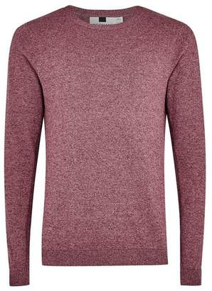 Topman Mens Red Burgundy Twist Side Ribbed Sweater