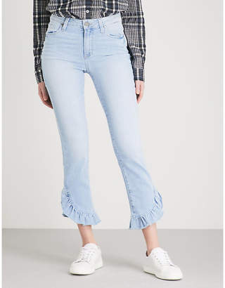 "Paige Hoxton Straight 27"" ruffled-hem high-rise jeans"