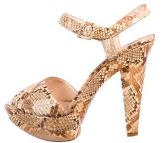 260392d126f Christian Louboutin Brown Platform Heel Women s Sandals - ShopStyle