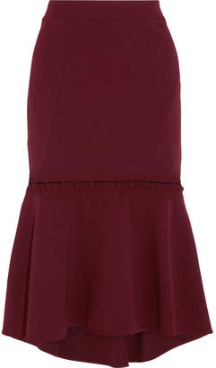 Rebecca Vallance Cortona Fluted Crepe Midi Skirt - Burgundy