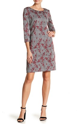 Nina Leonard 3/4 Sleeve Crew Neck Dress