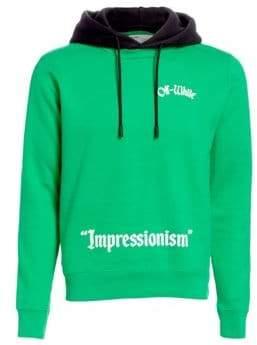 Off-White Men's College Crewneck Hoodie - Green - Size XL