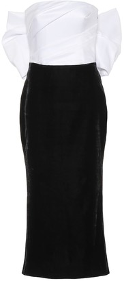 Rasario Silk-satin and velvet midi dress