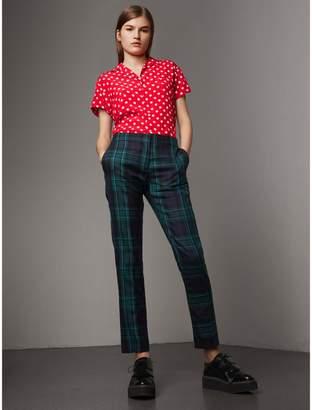 Burberry Short-sleeve Polka-dot Silk Shirt
