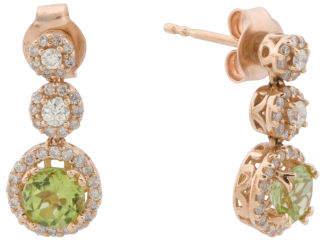 14k Rose Gold Diamond And Peridot Triple Halo Drop Earrings