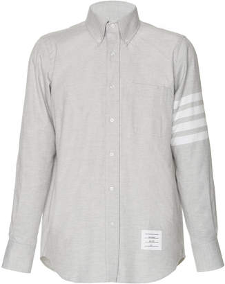 Thom Browne Stripe-Detailed Cotton-Flannel Button-Down Shirt
