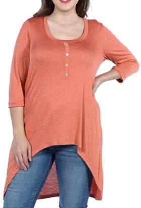 b63cc2b00ae527 24/7 Comfort Apparel Laila Henley Neckline Plus Size Tunic Top