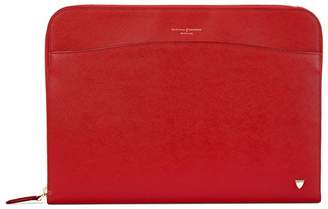 Aspinal of London Zipped Laptop Case In Scarlet Saffiano
