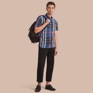 Burberry Button-down Collar Short-sleeve Check Cotton Shirt $295 thestylecure.com