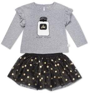 Kate Spade Little Girl's 2-Piece Graphic Top & Polka Dot Skirt Set