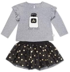 Kate Spade Little Girl's Two-Piece Graphic Top & Polka Dot Skirt Set