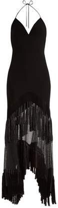 Diane von Furstenberg V-neck fringed lace gown