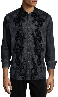 Robert Graham Canary Island Printed Long-Sleeve Sport Shirt, Black $298 thestylecure.com
