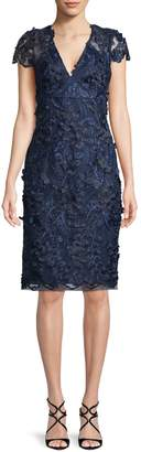 Carmen Marc Valvo Sequin Lace Texture Dress