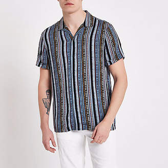 River Island Blue aztec print short sleeve revere shirt