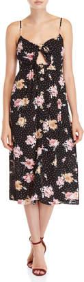 Mimichica Mimi Chica Printed Tie-Front Midi Dress