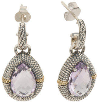 Made In Indonesia 14k And Sterling Silver Amethyst Earrings