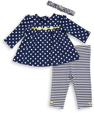 Little Me Baby's Three-Piece Daisy Cotton Top, Leggings and Headband Set