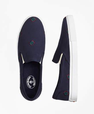Brooks Brothers Medallion-Embroidered Slip-On Sneakers