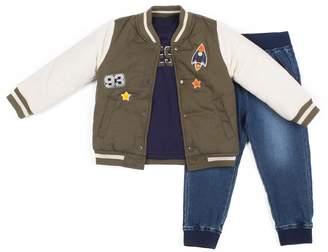 "Toddler Boy Little Lad 3 pc Jacket, ""#Awesome"" Tee & Jogger Denim Pants Set"
