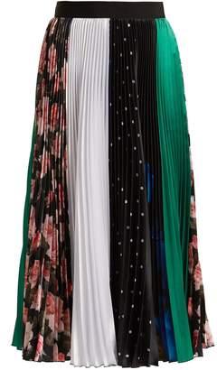 MSGM Contrast pleated midi skirt