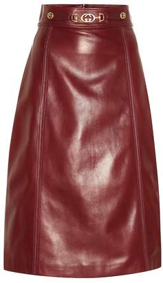 Gucci Embellished leather midi skirt