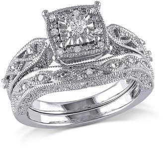 MODERN BRIDE 1/5 CT. T.W. Diamond Sterling Silver Vintage Style Bridal Set