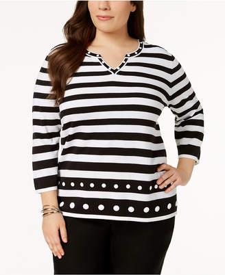 Alfred Dunner Plus Size Upper East Side Embellished Striped Sweater