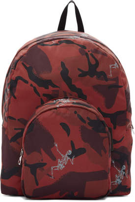 Alexander McQueen Burgundy Small Dancing Skeletons Camouflage Backpack