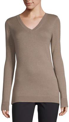 WORTHINGTON Worthington Long Sleeve V-Neck Sweater - Tall